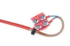 Elektrische Leitung mit Klemmenblock Lizenzfreies Stockbild
