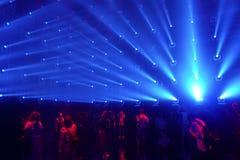 Elektrische Lichter Ausstellung durch teamLab in Mori Digital Art Museum lizenzfreie stockbilder