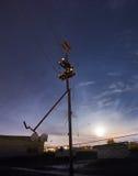 Elektrische lijn in de nacht Stock Fotografie