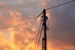Elektrische lijnsilhouetten Stock Afbeeldingen