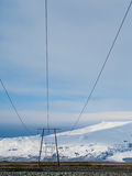 Elektrische Linien in Jokulsarlon, Island Stockbilder
