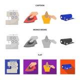 Elektrische Nähmaschine, Eisen für das Bügeln, markierend mit Kreidekleidung, Rolle des Gewebes und anderer Ausrüstung Nähen und vektor abbildung