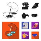 Elektrische Nähmaschine, Eisen für das Bügeln, markierend mit Kreidekleidung, Rolle des Gewebes und anderer Ausrüstung Nähen und lizenzfreie abbildung