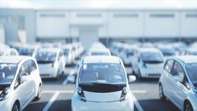 Elektrische nieuwe auto's in voorraad De Auto's van het autohandel drijven voor Verkoop Het concept van de ecologie Realistische