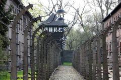 Elektrische omheining in vroeger Naziconcentratiekamp Auschwitz I Stock Foto's