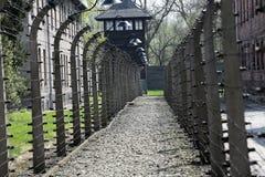 Elektrische omheining in vroeger Naziconcentratiekamp Auschwitz I Stock Afbeeldingen