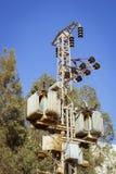 Elektrische Pfosten der Hochspannung im blauen Himmel, Sharm el Sheikh, E Lizenzfreie Stockfotos
