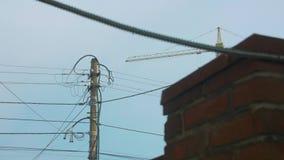 Elektrische Pijler en de Bouw stock videobeelden