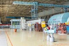 Elektrische Pumpe im Maschinenraum für Dampfturbinen des Atomkraftwerks Kursk Lizenzfreies Stockbild