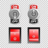 Elektrische Schalterknöpfe, auf Ruhestellung, realistischer Gegenstand des Vektors 3d Stockfotografie