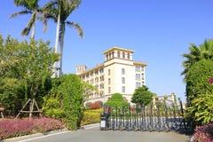 Elektrische Schiebetür diyuan Victoria Hotels Xiamens, luftgetrockneter Ziegelstein rgb Stockbild