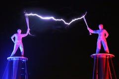 Elektrische Show, die Tesla-Spule elektrisch stockfoto
