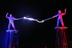 Elektrische Show, die Tesla-Spule elektrisch lizenzfreie stockbilder