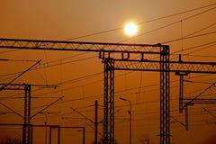 Elektrische spoorweg stock foto
