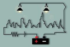 Elektrische Stadt lizenzfreie abbildung