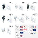 Elektrische Stecker-Arten Schreiben Sie A, Art B, Art C, Art D, Art E, Art F, Art H Isometrische Schalter und Sockel eingestellt  vektor abbildung