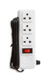 Elektrische Stecker und ein Sockel lokalisiert auf weißem Hintergrund Lizenzfreie Stockfotografie