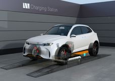 Elektrische SUV-Autoaustauschschwache batterie in der Batterie, die Station austauscht lizenzfreie abbildung