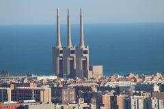 Elektrische thermische krachtcentrale van Barcelona Stock Afbeeldingen