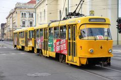 Elektrische Tram in Rumänien Lizenzfreies Stockbild