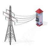 Elektrische transformator isometrische grafische de bouwinformatie Krachtcentrale met hoog voltage met elektriciteitspyloon vector illustratie
