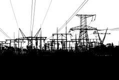 Elektrische Türme lokalisiert auf weißem Hintergrund Lizenzfreie Stockfotografie