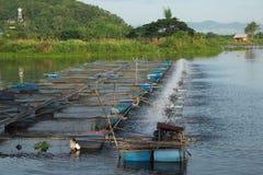 Elektrische Turbine für Zunahmesauerstoff im Abwasser und in der Fischzucht Lizenzfreies Stockbild