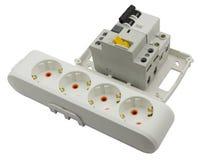 Elektrische uitbreiding en automatische stroomonderbreker stock afbeeldingen