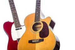 Elektrische und Akustikgitarre Stockbild