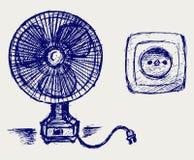 Elektrische ventilator en contactdoos Stock Foto's