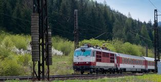 Elektrische voortbewegings 350014-7- Slowaakse Spoorwegen stock foto's