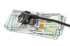 Elektrischer Bolzen auf Geld lizenzfreies stockbild
