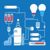 Elektrischer Entwurf mit Glühlampen, Batterien und Lizenzfreies Stockbild