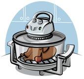 Elektrischer Grill mit gebratenem Huhn lizenzfreie abbildung