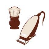 Elektrischer Haarscherer u. Pulverbürste Stockfotografie