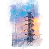 Elektrischer Hochspannungspole Stockfotografie