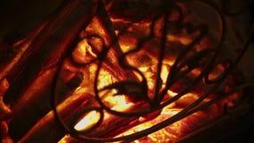 Elektrischer künstlicher Kamin mit orange Feuerflammeninnenraum stock video footage