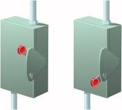 Elektrischer Kasten mit Absperrvorrichtung Stockfotografie