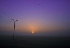 Elektrischer Mast im Sonnenaufgang Lizenzfreie Stockfotos