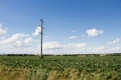 Elektrischer Pfosten und grünes Feld Stockbilder