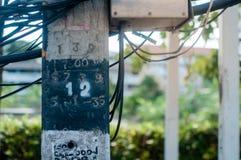 Elektrischer Pfosten und schwarze Drähte Stockbild