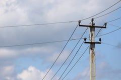 Elektrischer Pol mit Drähten Lizenzfreies Stockbild