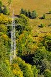 Elektrischer Pol und Schafe auf Berg stockfoto