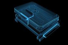 Elektrischer Röntgenstrahl-blaues transparentes des Grill-3D Stockbild