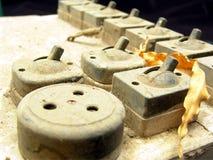 Elektrischer Schalter der alten Weinlese Stockbild
