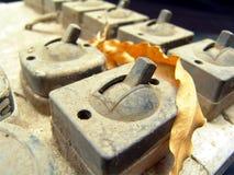Elektrischer Schalter der alten Weinlese Stockfotos