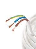 Elektrischer Seilzug auf weißem Hintergrund Stockfoto