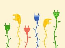 Elektrischer Stecker mit Blättern ohne Kontur Stockbild