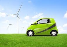 Elektrisches Auto des Grün-3D Lizenzfreie Stockfotos