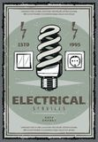 Elektrisches Service-Weinleseplakat mit Glühlampe Stockbilder